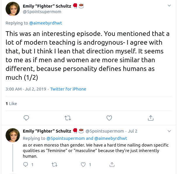 "A follower of Aimee Byrd has a ""hard time nailing down specific qualities as feminine or masculine"" because they're all just human"